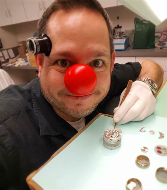 #latergram from this past Thursday of our wonderful watch maker Michael Taylor clowning around in support of Red Nose Day.😄💯🎈#rednoseday #clowningaround #watchmaker #brombergsjewelry #brombergswatches