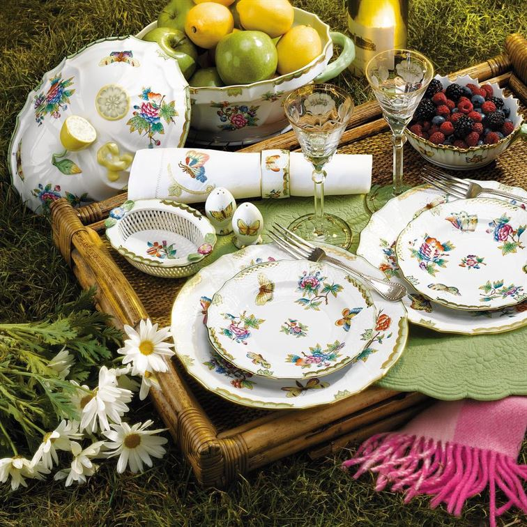 "So it's not exactly picnic weather in our neck of the woods...We can still day dream, right? And our idea of a dreamy picnic includes luxurious, hand painted Anna Weatherly ""Spring in Budapest"" China! #daydreaming #picnic #annaweatherly #springinbudapest #finechina #bridalregistry #setyourtable #brombergsbride #brombergsjewelry #dreamy"