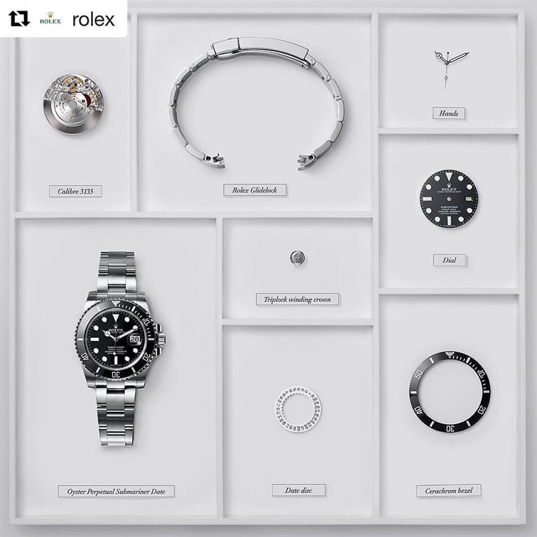 "Time to get some rest! Repost @rolex: ""The Rolex Submariner - Deconstructed"" Photographed by Ted Humble-Smith #Rolex #Submariner #101031 #brombergswatch #brombergsjewelry"