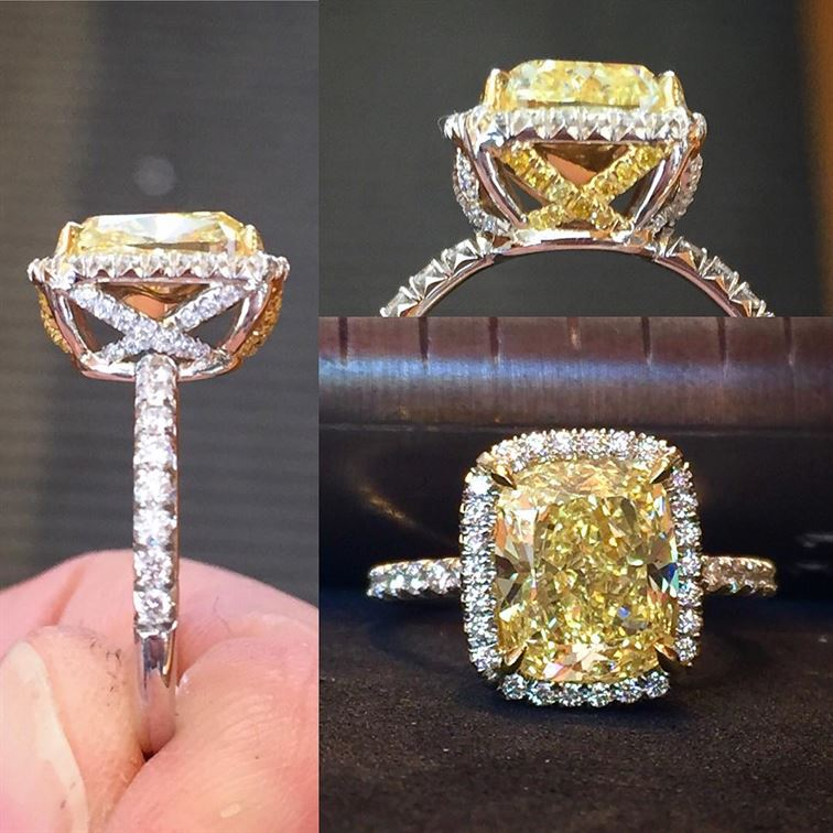 Have X mark the spot of the love you treasure with this beautiful fancy yellow diamond ring! #xmarksthespot #treasure #love #fancyyellowdiamond #diamondring #brombergsjewelry